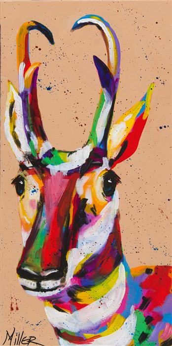 Original art for sale at UGallery.com | Pronghorn Portrait by TRACY MILLER | $675 | Acrylic painting | 24' h x 12' w | ..\art\acrylic-painting-Pronghorn-Portrait