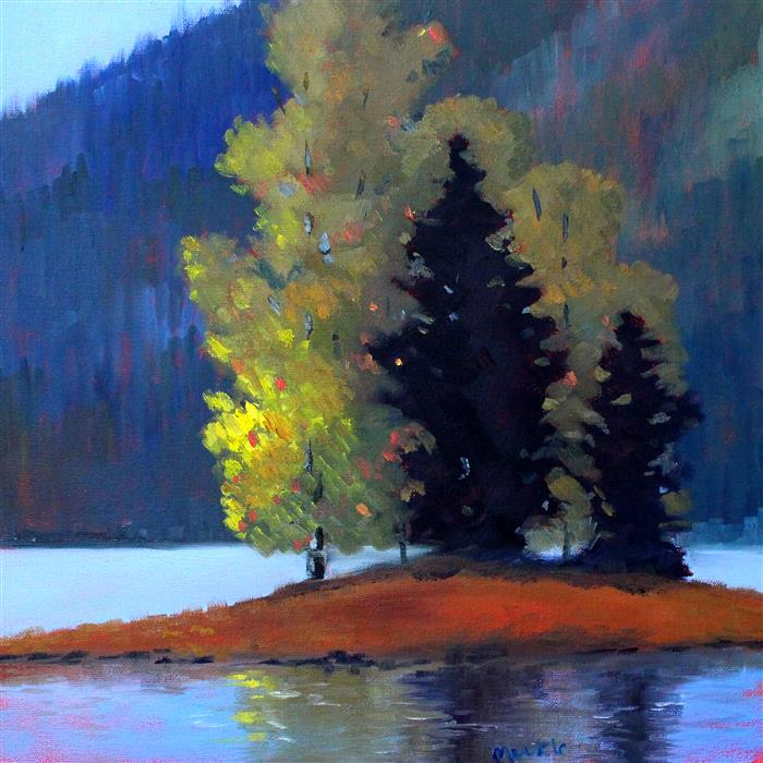 Original art for sale at UGallery.com | Island Trees by Nancy Merkle | $600 | oil painting | 16' h x 16' w | ..\art\oil-painting-Island-Trees
