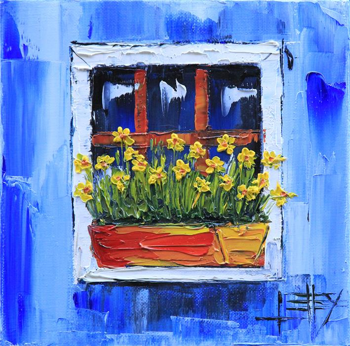 Original art for sale at UGallery.com | Italy in Blue by LISA ELLEY | $250 |  | 8' h x 8' w | ..\art\oil-painting-Italy-in-Blue