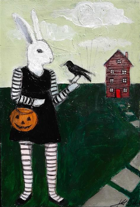 Original art for sale at UGallery.com | Halloween Hare by KAT SILVER | $225 | Acrylic painting | 6' h x 4' w | ..\art\acrylic-painting-Halloween-Hare