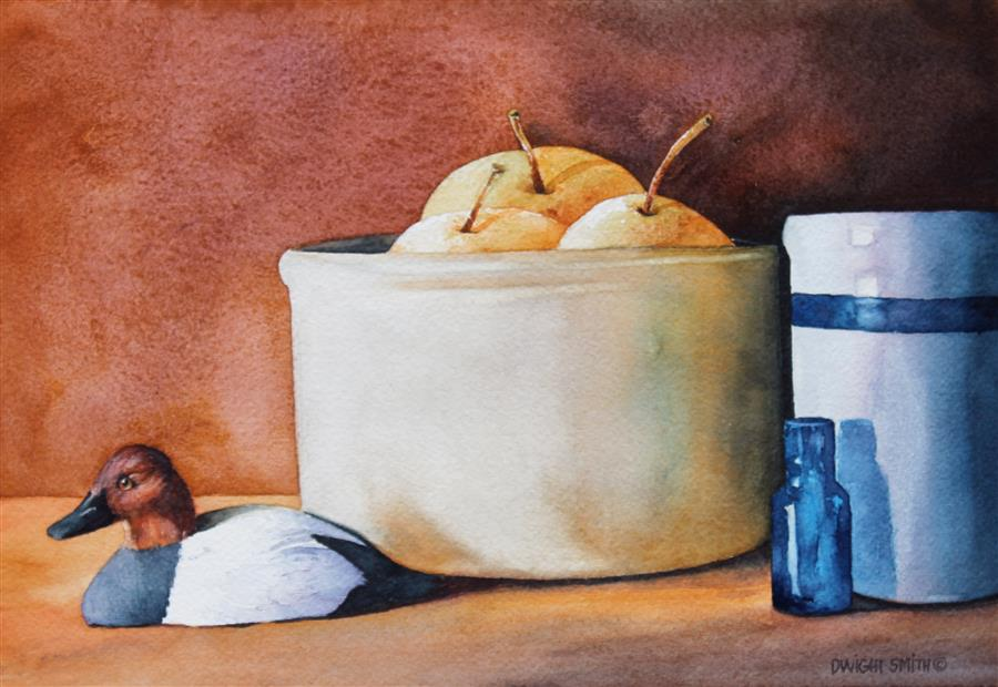 Original art for sale at UGallery.com | Asian Pears with Ducks by DWIGHT SMITH | $250 |  | 7' h x 10' w | ..\art\watercolor-painting-Asian-Pears-with-Ducks