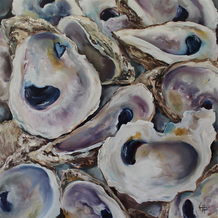 Original art for sale at UGallery.com | Oyster Shells by KRISTINE KAINER | $2,150 |  | 24' h x 24' w | ..\art\oil-painting-Oyster-Shells