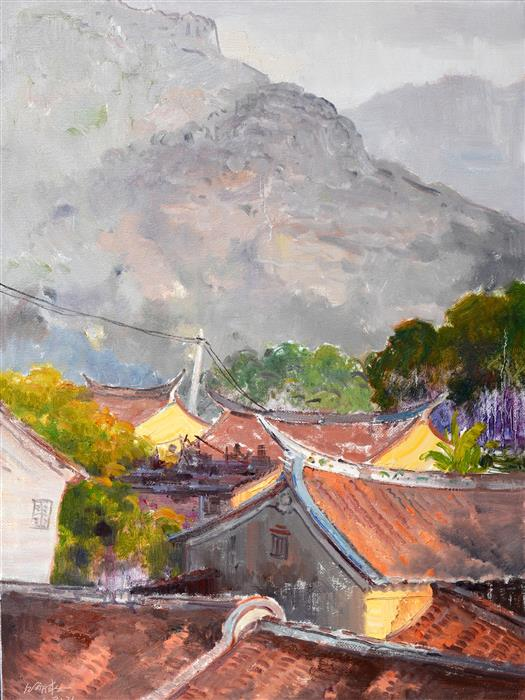 Original art for sale at UGallery.com | The Roof of Chinese Houses by SHENGNAN LI | $950 | Oil painting | 32' h x 24' w | ..\art\oil-painting-The-Roof-of-Chinese-Houses