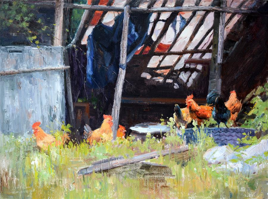Original art for sale at UGallery.com | Chickens by SHENGNAN LI | $1,175 | Oil painting | 24' h x 32' w | ..\art\oil-painting-Chickens