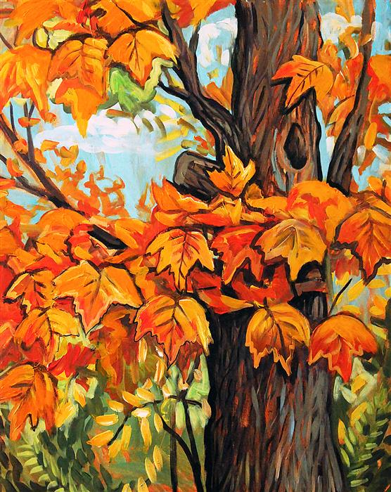Original art for sale at UGallery.com | Autumn Maple by KIRA YUSTAK | $775 |  | 30' h x 24' w | ..\art\acrylic-painting-Autumn-Maple