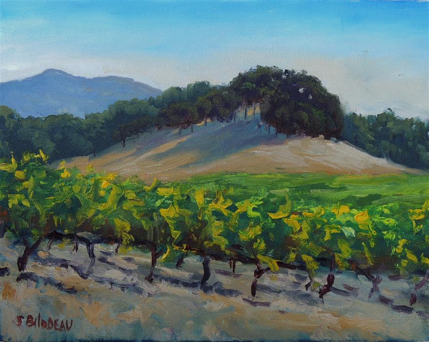 Original art for sale at UGallery.com | Vineyards Along Adobe Creek Road by STEVEN GUY BILODEAU | $475 |  | 11' h x 14' w | ..\art\oil-painting-Vineyards-Along-Adobe-Creek-Road
