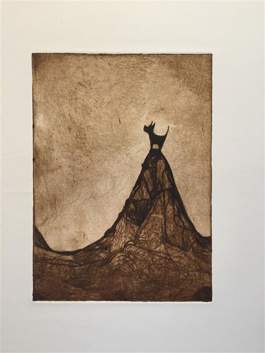 Original art for sale at UGallery.com | Lone Dog by DOUG LAWLER | $325 |  | 10' h x 8' w | ..\art\printmaking-Gone