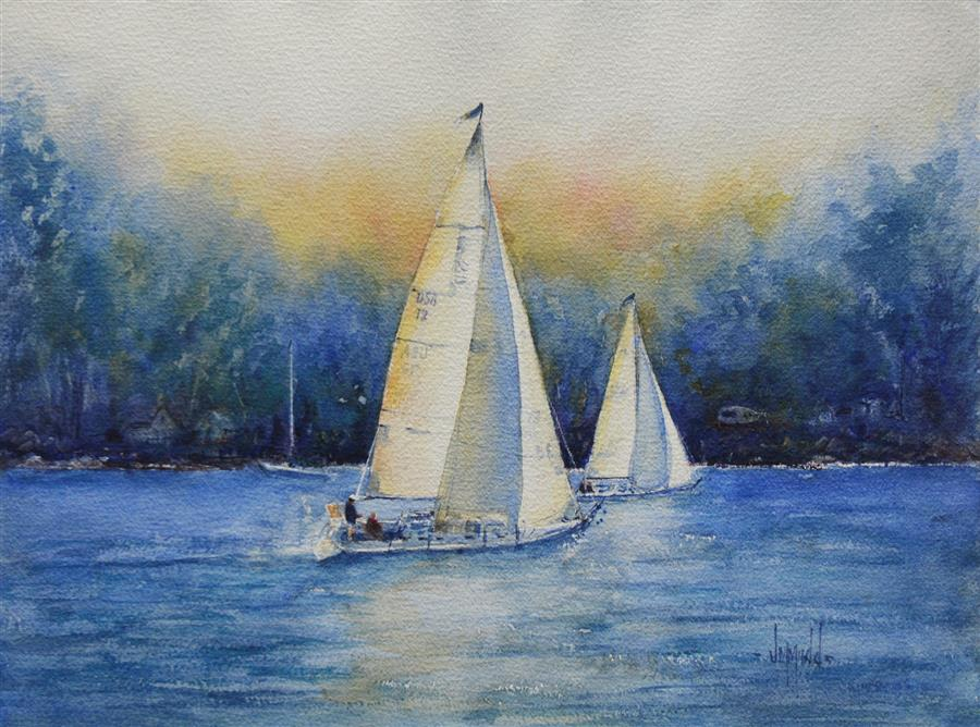 Original art for sale at UGallery.com | Sail Away with Me by JUDY MUDD | $675 |  | 12' h x 16' w | ..\art\watercolor-painting-Sail-Away-with-Me