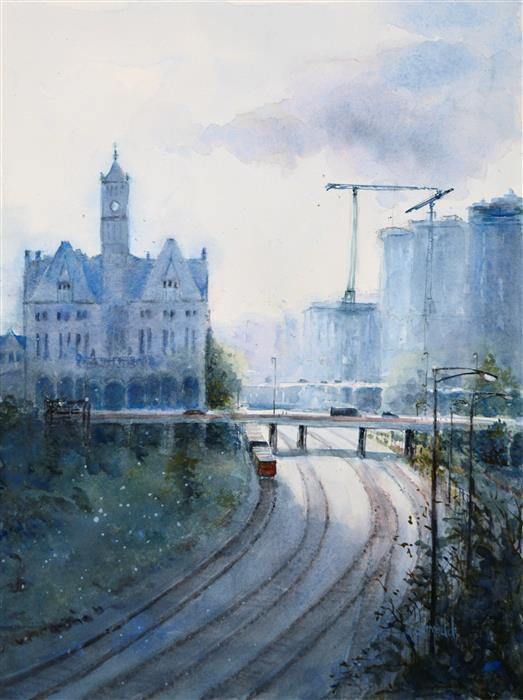 Original art for sale at UGallery.com | Union Station by JUDY MUDD | $650 | Watercolor painting | 16' h x 12' w | ..\art\watercolor-painting-Union-Station