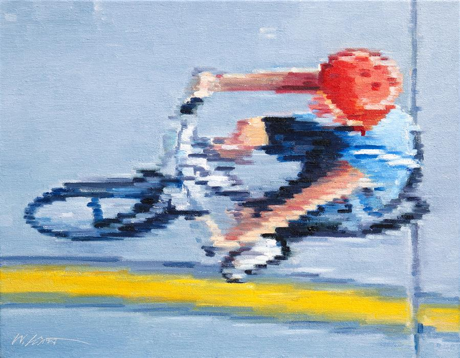 Original art for sale at UGallery.com | Aerial View of Child Riding Bicycle by Warren Keating | $575 | oil painting | 11' h x 14' w | ..\art\oil-painting-Aerial-View-of-Child-Riding-Bicycle