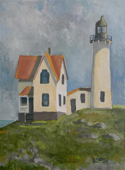 Original art for sale at UGallery.com | Ferris Point Lighthouse by ROBERT  HOLEWINSKI | $1,325 |  | 23' h x 17' w | ..\art\oil-painting-Ferris-Point-Lighthouse