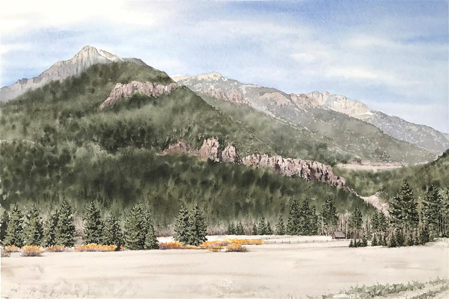 Original art for sale at UGallery.com | Mountain Perspective by Jill Poyerd | $1,625 | watercolor painting | 18' h x 28' w | ..\art\watercolor-painting-Mountain-Perspective