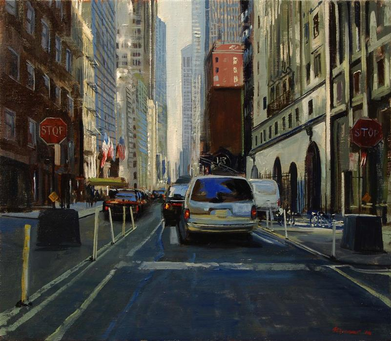 Original art for sale at UGallery.com | 56th Street: 10 AM by ONELIO MARRERO | $775 |  | 14' h x 16' w | ..\art\oil-painting-56th-Street-10-AM