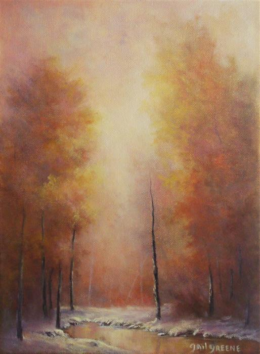 Original art for sale at UGallery.com | Autumn's Fire by GAIL GREENE | $325 | Oil painting | 12' h x 9' w | ..\art\oil-painting-Autumn-s-Fire