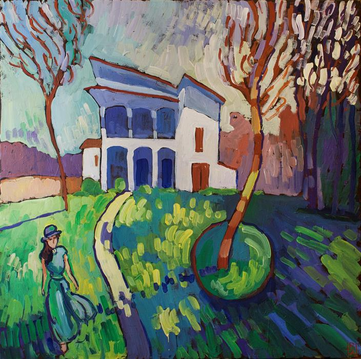 Original art for sale at UGallery.com | House and Surrounds by ROBERT HOFHERR | $1,050 | Acrylic painting | 30' h x 30' w | ..\art\acrylic-painting-House-and-Surrounds