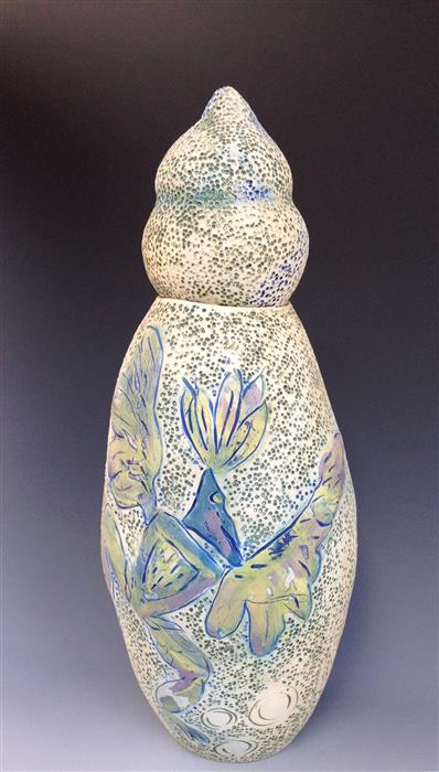 Original art for sale at UGallery.com | Dancing Birds Covered Jar by EILEEN BRAUN | $500 | Ceramic artwork | 14' h x 6' w | ..\art\ceramic-artwork-Dancing-Birds-Covered-Jar