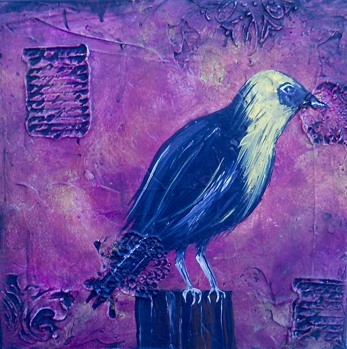 Original art for sale at UGallery.com | Yellow Headed Blackbird by LAURA CARTER | $550 | Acrylic painting | 12' h x 12' w | ..\art\acrylic-painting-Yellow-Headed-Blackbird