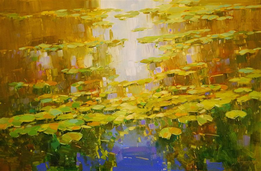 Original art for sale at UGallery.com | Autumn Pond by VAHE YEREMYAN | $1,150 | Oil painting | 24' h x 36' w | ..\art\oil-painting-Autumn-Pond-49362