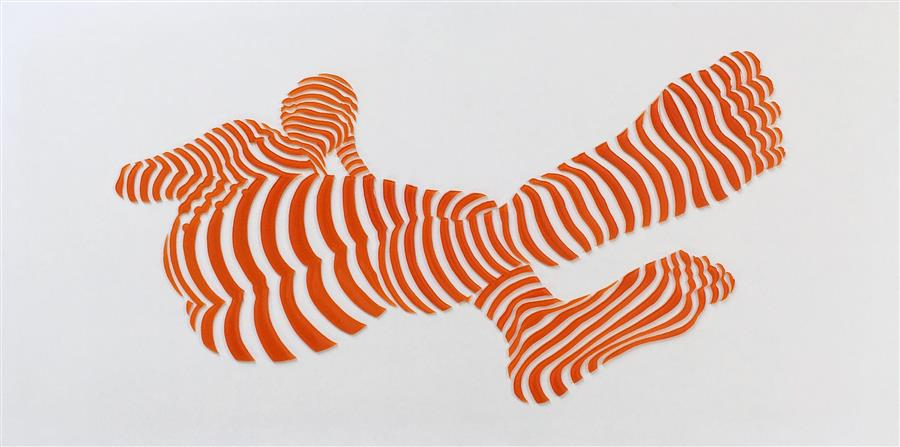 Original art for sale at UGallery.com | Stripe Pose #15 by Philippe Jestin | $1,400 | mixed media artwork | 12' h x 24' w | ..\art\other-media-Stripe-Pose-15