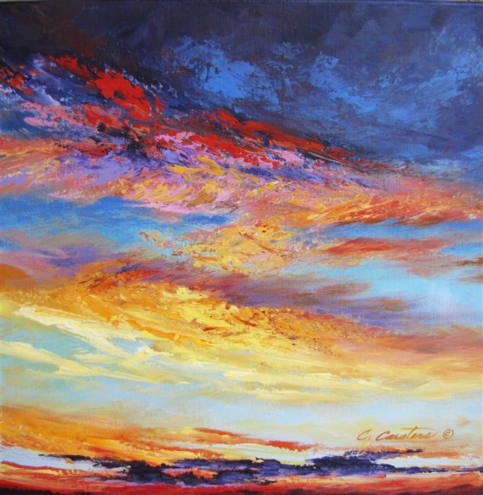 Original art for sale at UGallery.com | Melodies of Evening by CYNDY CARSTENS | $650 |  | 14' h x 14' w | ..\art\oil-painting-Melodies-of-Evening