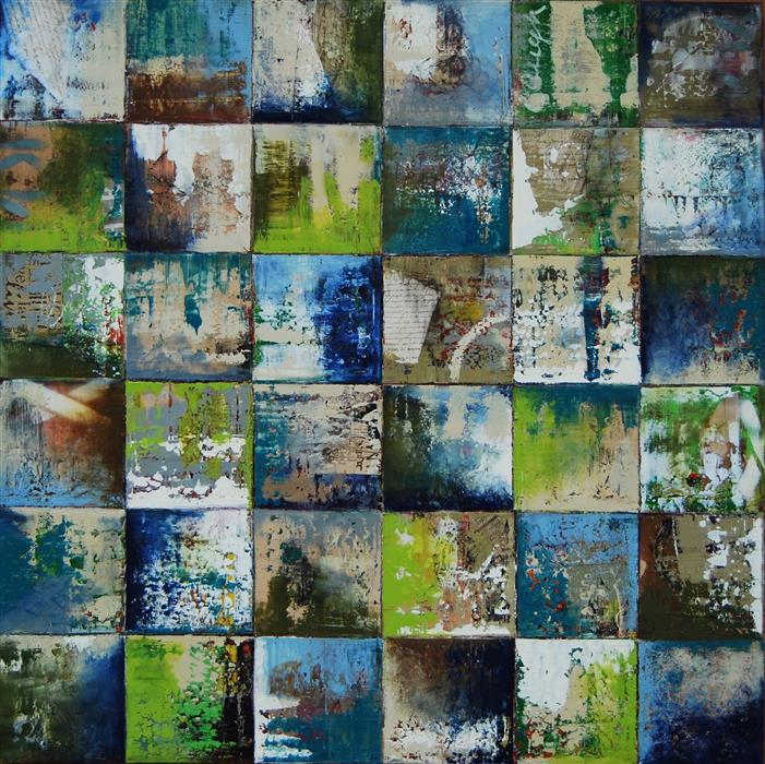 Original art for sale at UGallery.com | Squares by 48C by Janet Hamilton | $5,200 | mixed media artwork | 48' h x 48' w | ..\art\mixed-media-artwork-Squares-by-48C