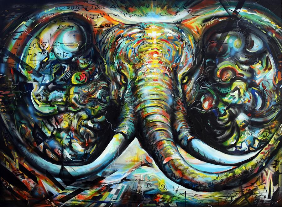 Original art for sale at UGallery.com | Enchanted Elephant by PIERO MANRIQUE | $2,325 | Acrylic painting | 36' h x 48' w | ..\art\acrylic-painting-Enchanted-Elephant