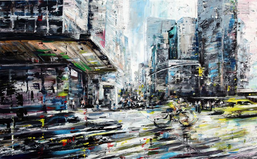 Original art for sale at UGallery.com | Fast Lane by PIERO MANRIQUE | $2,075 |  | 30' h x 48' w | ..\art\acrylic-painting-Fast-Lane