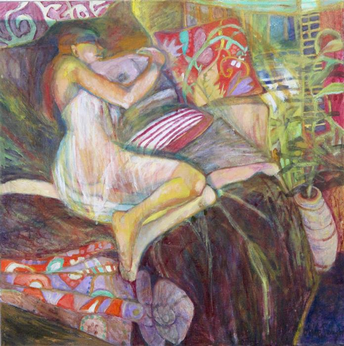 Original art for sale at UGallery.com | Sleeping on Mother's Quilts by DIXIE SALAZAR | $1,050 |  | 28' h x 28' w | ..\art\oil-painting-Sleeping-on-Mother-s-Quilts