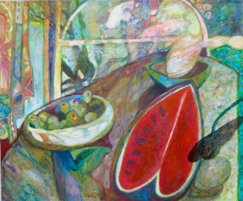 Original art for sale at UGallery.com | Mediterranean Still Life by DIXIE SALAZAR | $875 |  | 24' h x 28' w | ..\art\oil-painting-Mediterranean-Still-Life