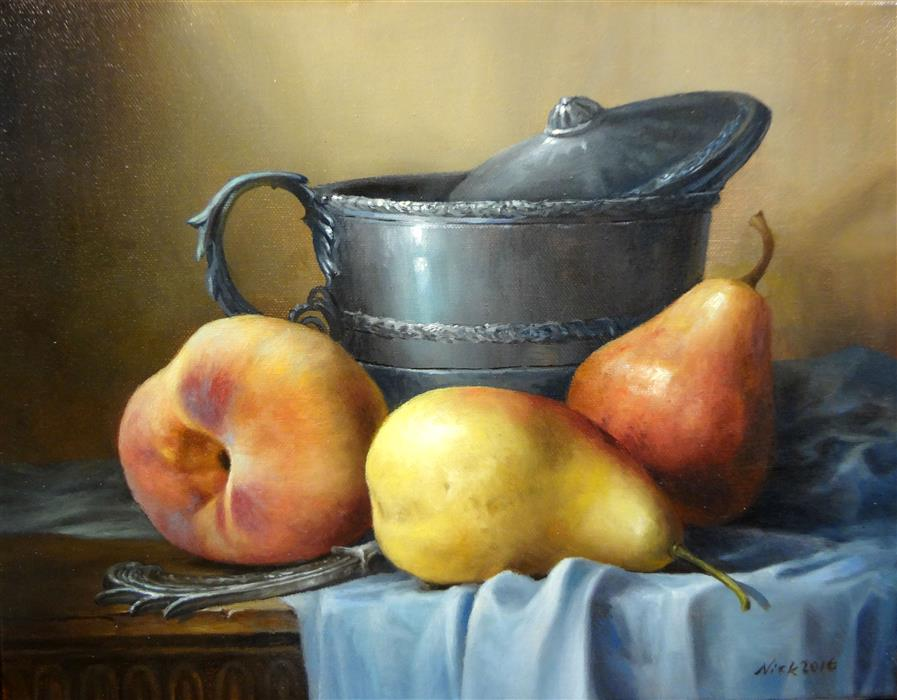 Original art for sale at UGallery.com | Pears by NIKOLAY RIZHANKOV | $875 |  | 11' h x 14' w | ..\art\oil-painting-Pears-49551