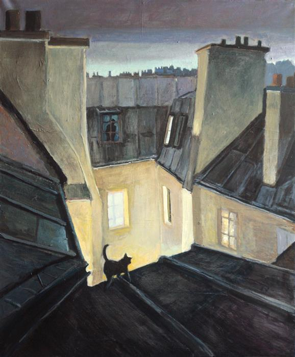 Original art for sale at UGallery.com | The Cat on a Roof by BERTRAND GIRARD | $3,350 |  | 47' h x 39' w | ..\art\acrylic-painting-The-Cat-on-a-Roof