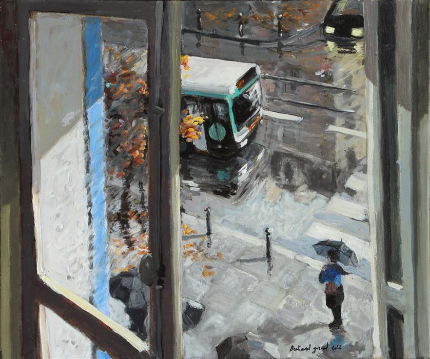 Original art for sale at UGallery.com | The Parisian Bus by BERTRAND GIRARD | $1,050 |  | 18' h x 21' w | ..\art\acrylic-painting-The-Parisian-Bus