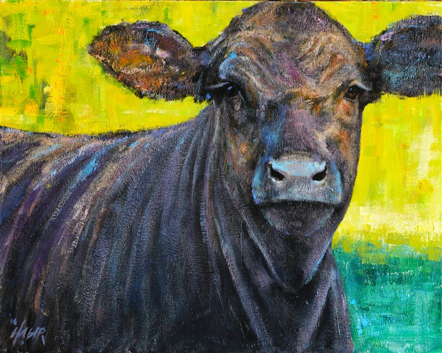 Original art for sale at UGallery.com | Black Steer by NATHAN HAGER | $1,025 |  | 16' h x 20' w | ..\art\oil-painting-Black-Steer