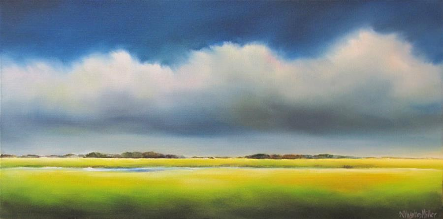 Original art for sale at UGallery.com | Marsh Storm by NANCY HUGHES MILLER | $550 | Oil painting | 10' h x 20' w | ..\art\oil-painting-Marsh-Storm