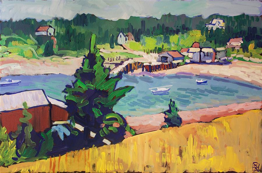 Original art for sale at UGallery.com | Harbor in Frenchboro, Maine by Robert Hofherr | $925 | acrylic painting | 20' h x 30' w | ..\art\acrylic-painting-Harbor-in-Frenchboro-Maine