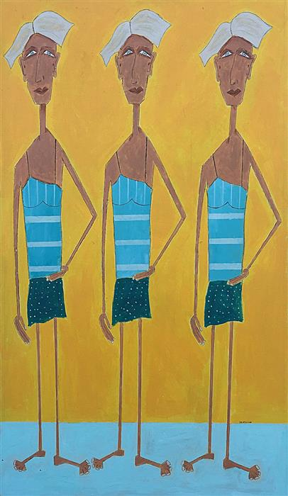 Original art for sale at UGallery.com | Sisters at the Beach by RICK HAMILTON | $2,150 | Acrylic painting | 48' h x 28' w | ..\art\acrylic-painting-Sisters-at-the-Beach