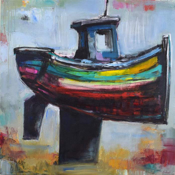 Original art for sale at UGallery.com | Boat by ALLEN WITTERT | $2,775 | Acrylic painting | 36' h x 36' w | ..\art\acrylic-painting-Boat-47493