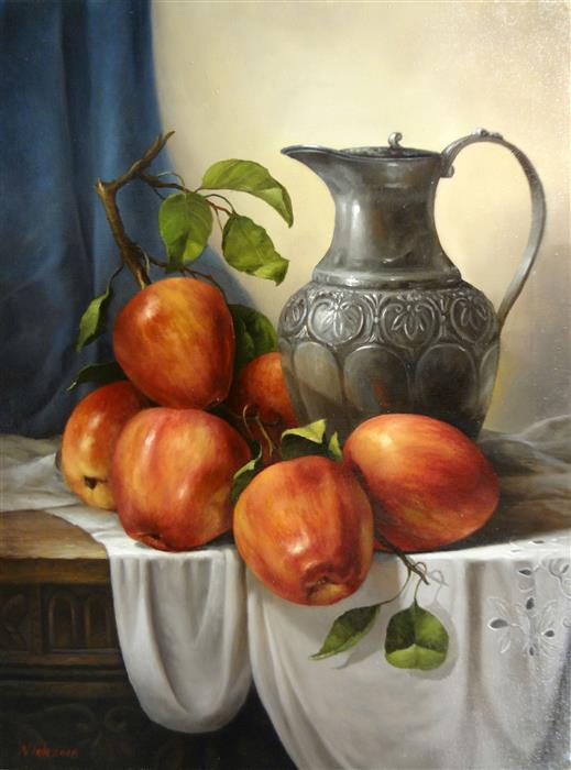 Original art for sale at UGallery.com | Still Life with Silver Jug by NIKOLAY RIZHANKOV | $925 |  | 24' h x 18' w | ..\art\oil-painting-Still-Life-with-Silver-Jug