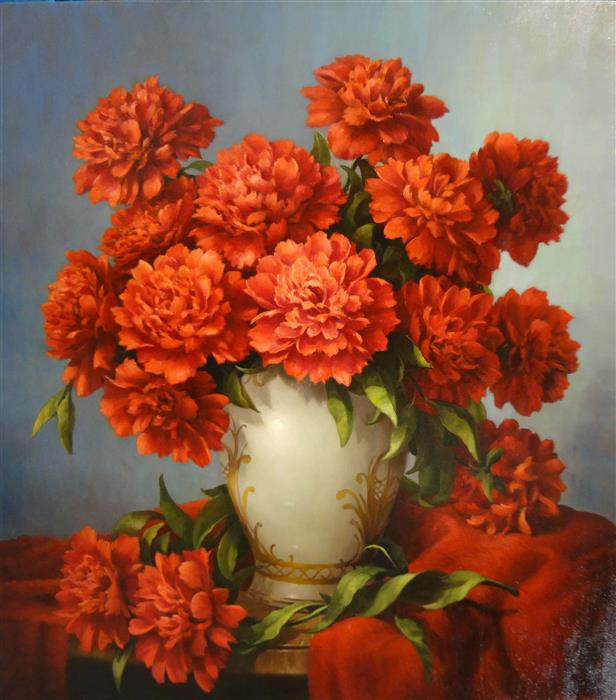 Original art for sale at UGallery.com | Red Peonies by NIKOLAY RIZHANKOV | $1,175 | Oil painting | 27' h x 24' w | ..\art\oil-painting-Red-Peonies