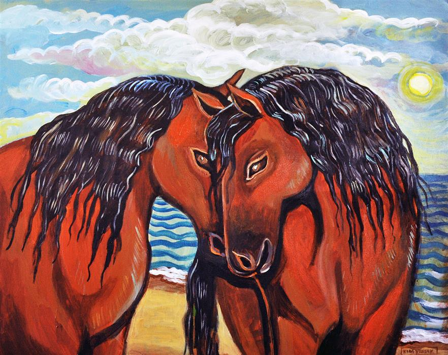 Original art for sale at UGallery.com | Kissing Horses by KIRA YUSTAK | $875 |  | 24' h x 39' w | ..\art\acrylic-painting-Kissing-Horses