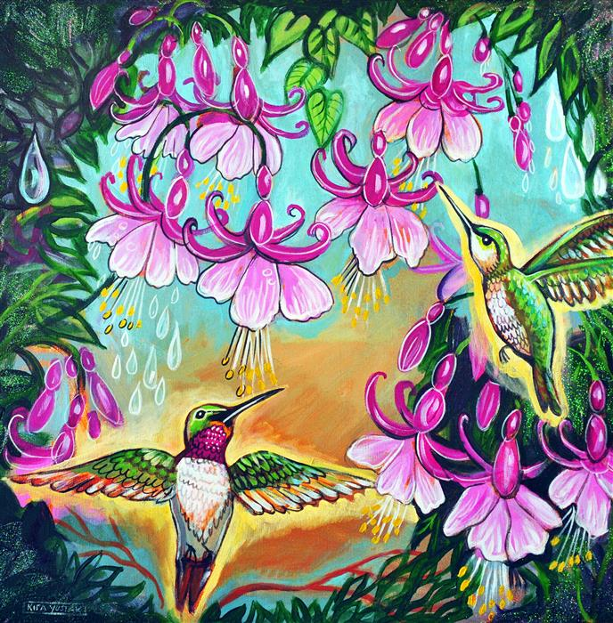 Original art for sale at UGallery.com | Sweet Nectar by KIRA YUSTAK | $800 |  | 24' h x 24' w | ..\art\mixed-media-artwork-Sweet-Nectar
