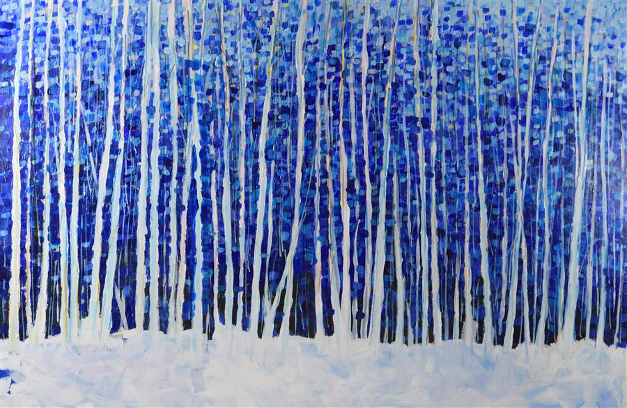 Original art for sale at UGallery.com | Snow Aspen by TAMARA GONDA | $2,000 |  | 24' h x 36' w | ..\art\mixed-media-artwork-Snow-Aspen
