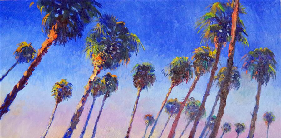 Original art for sale at UGallery.com | Palms and Blue Sky by SUREN NERSISYAN | $2,825 |  | 24' h x 48' w | ..\art\oil-painting-Palms-and-Blue-Sky