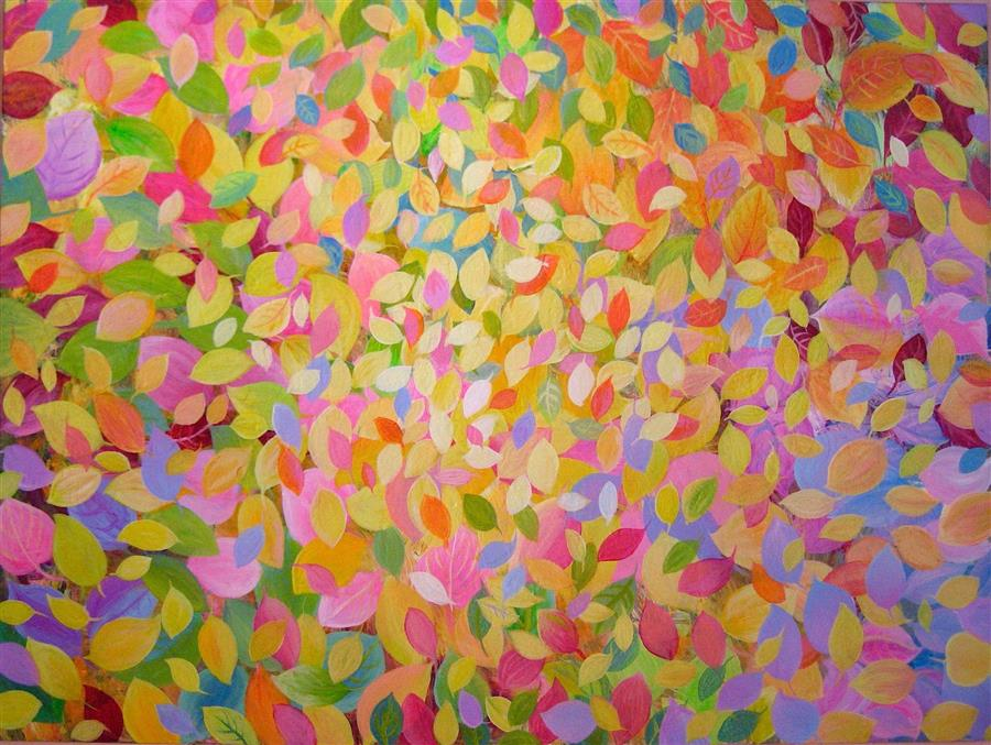 Original art for sale at UGallery.com | Colorful Leaves by NATASHA TAYLES | $1,300 |  | 30' h x 40' w | ..\art\acrylic-painting-Colorful-Leaves