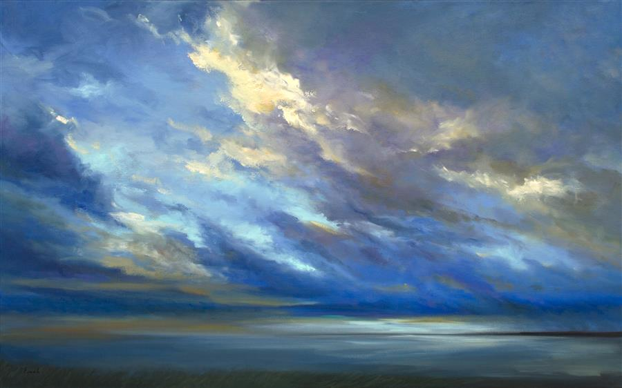 Original art for sale at UGallery.com | Coastal Sky II by SHEILA FINCH | $5,250 | Oil painting | 30' h x 48' w | ..\art\oil-painting-Coastal-Sky-II
