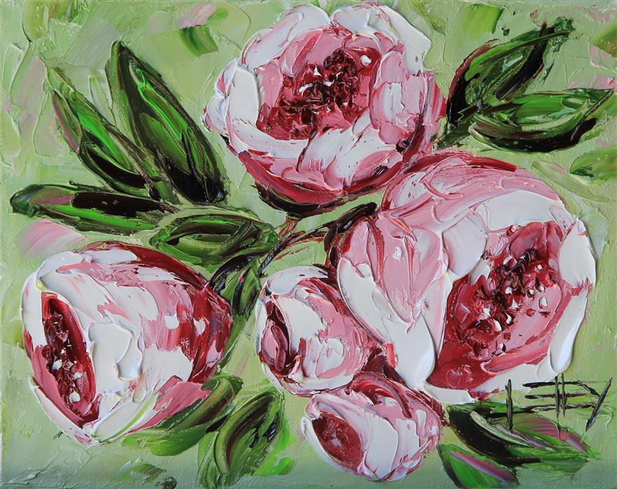 Original art for sale at UGallery.com | Perfect Peonies by LISA ELLEY | $325 |  | 10' h x 8' w | ..\art\oil-painting-Perfect-Peonies