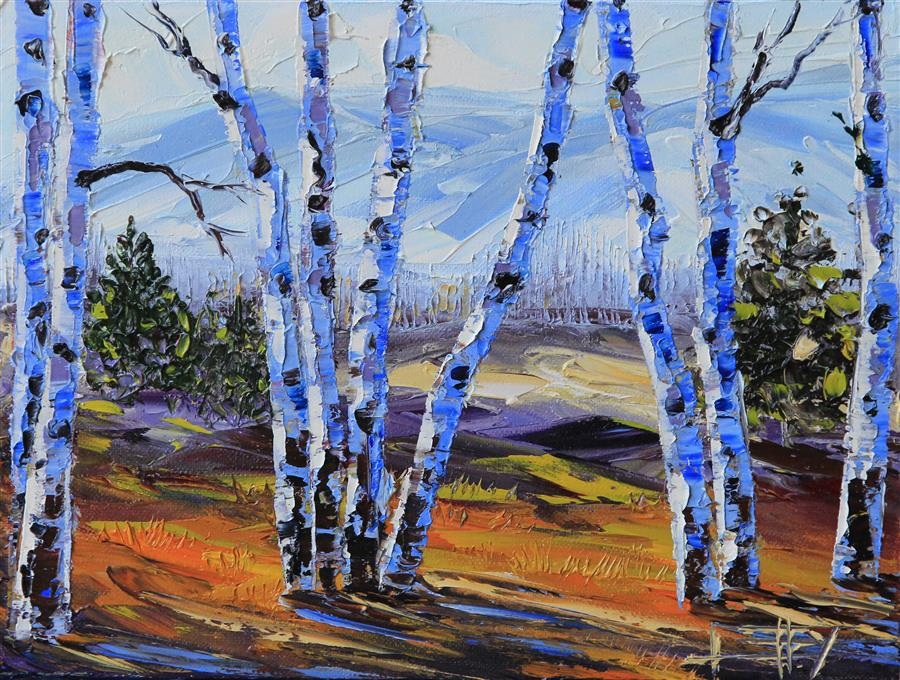 Original art for sale at UGallery.com | Heavenly Birch by LISA ELLEY | $400 |  | 9' h x 12' w | ..\art\oil-painting-Heavenly-Birch