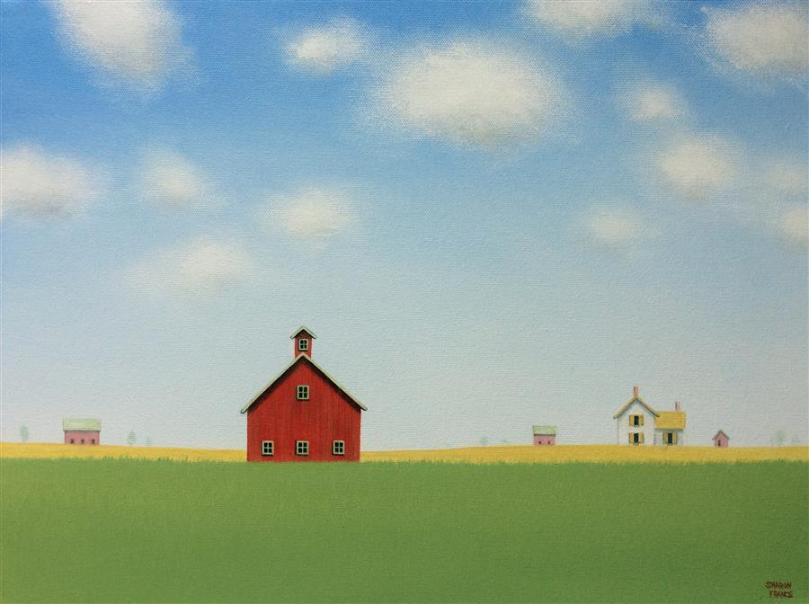 Original art for sale at UGallery.com | Red Barn Under a Big Blue Sky by SHARON  FRANCE | $750 | Acrylic painting | 12' h x 16' w | ..\art\acrylic-painting-Red-Barn-Under-a-Big-Blue-Sky