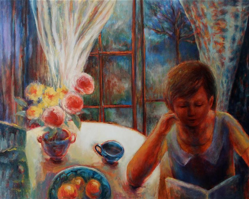 Original art for sale at UGallery.com | Girl with a Book by NAOKO PALUSZAK | $1,850 | Oil painting | 24' h x 30' w | ..\art\oil-painting-Girl-with-a-Book