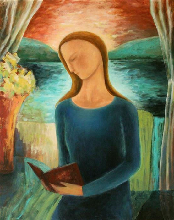 Original art for sale at UGallery.com | Woman Reading by the Lake by NAOKO PALUSZAK | $1,450 |  | 30' h x 24' w | ..\art\oil-painting-Woman-Reading-by-the-Lake